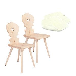 2 Bauernstühle aus Zirbenholz mit 2 Sitzkissen aus Schafwolle - 4betterdays