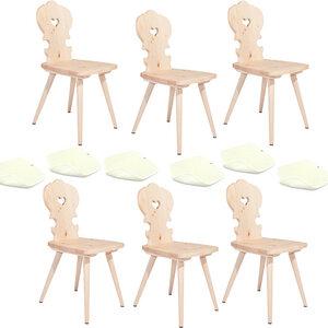 6 Bauernstühle aus Zirbenholz mit 6 Sitzkissen aus Schafwolle - 4betterdays