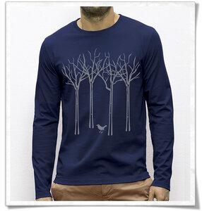 Vogel im Wald  longsleeve Shirt für Männer / Navy - Picopoc