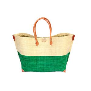 Strandtasche MERY GROSS Bicolor mit Leder Griffen (Maße: 62/45 x 36 x 23 cm) - frosch und rabe