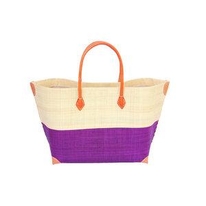 Strandtasche MERY KLEIN Bicolor mit Leder Griffen (Maße: 56/40 x 34 x 18 cm) - frosch und rabe