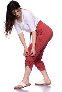 TAMANI Jogpant mit aufrollbarem Beinabschluss aus Bambus-Viskose (Ziegelrot) - Ingoria