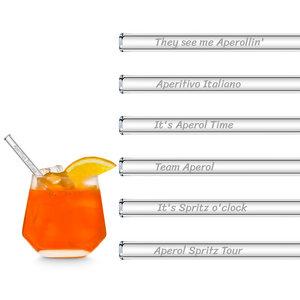 HALM Glasstrohhalme Trinkhalme Aperol Spritz Sprüche gravierte Glasstrohhalme mit 6 lustigen Trinksprüchen + Reinigungsbürste - HALM