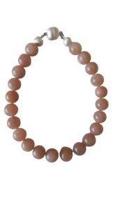 Armband aus Altrosa Mondsteinkugeln - 21 cm Lang - ReineNatur