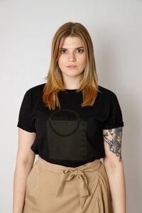 Damen Bio-Baumwoll Shirt mit Siebdruck, schwarz - Barbeck