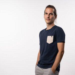 T-Shirt Pocket Herren - Bio-Baumwolle blau/beige - Vresh Clothing