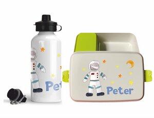 Set Biodora Brotdose & Trinkflasche mit Weltraum Motiv, personalisiert - wolga-kreativ