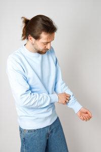 Herren Batik Sweater aus Bio -Baumwolle, eis blau - Barbeck