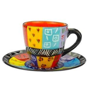 Multicoloured Ethnic - Kaffeetasse Abeni mit Untertasse - Kapula Keramik - Kapula Candles