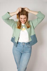 Sommer Jacke aus leichter Wolle, blau / grün - Barbeck