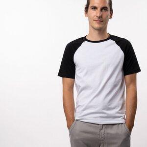 T-Shirt Raglan Herren - Bio-Baumwolle schwarz/weiß - Vresh Clothing