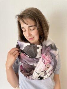 Tuch aus BioBaumwolle - Kirschblüten und Vögel - Sara Rosenbaum x Made Here