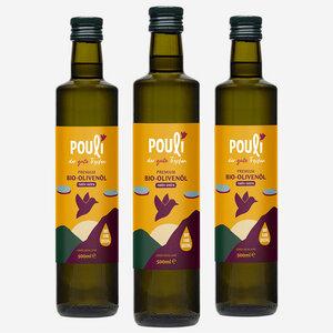 3 * Bio-Olivenöl, nativ extra, Flasche (500ml) - Pouli Food
