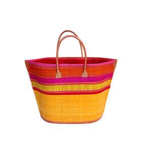 Strandtasche BATO GROSS Streifen / Uni mit Leder Griffen (Maße: 62/42 x 40 x 22 cm) - frosch und rabe