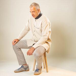 Leinenhemd Longhemd mit hohem Stehkragen, 100% Bioleinen - nahtur-design