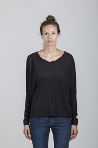 Eva T-shirt Women Bamboo Black - Minimal - Re-Bello