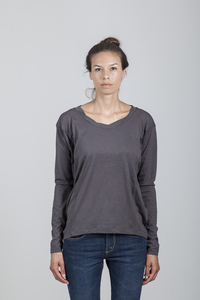 Eva T-shirt Women Bamboo Dark Gull Grey - Minimal - Re-Bello