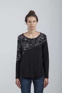 Audrey T-Shirt Women Eucalyptus Black + All Over Print City Lights - Minimal - Re-Bello