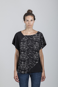 Anna T-Shirt Women Eucalyptus Black + All Over Print City Lights - Minimal - Re-Bello