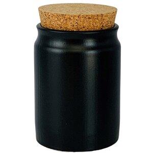 Gewürzdose Steingut 200 ml mit Korkenverschluss schwarz - mikken