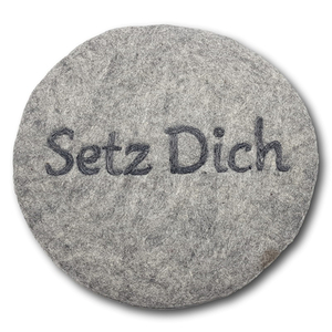 """Filzkissen rund Ø 35 cm """"Setz dich"""" - Frida Feeling"""