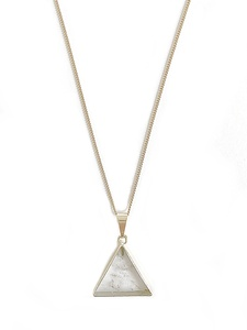 Bergkristall Dreieck Halskette, aufrecht, vergoldet oder versilbert - Crystal and Sage