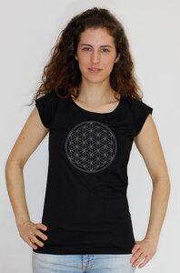 "Bio-Bambus-Viskose Shirt ""Die Blume des Lebens"" - Peaces.bio - EarthPositive® - handbedruckt"