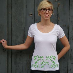 'Venushaar' Frauen SCOOPED NECK T-SHIRT - shop handgedruckt