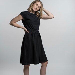 "Kleid Damen ""Linda"" - Biobaumwolle + rec. Polyester schwarz/taupe - Vresh Clothing"