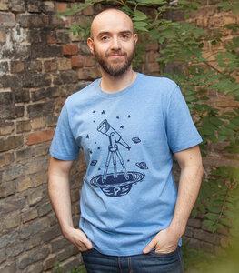 Teleskop mit Sternen - Fair Wear Männer Bio T-Shirt - Heather Blue - päfjes