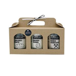 """Geschenkbox - 3er Set """"Das Brot aus dem Glas"""" Herzlichen Glückwunsch - brotstoff"""