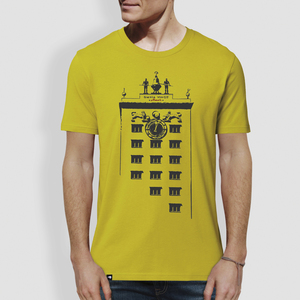 "Herren T-Shirt, ""Turmuhr"", Hay Yellow, Roasted Orange - little kiwi"