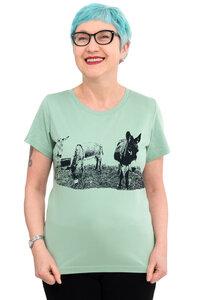 """Fair-Trade-Frauenshirt """"Eselkombo"""" - Made in Kenia - mint - Hirschkind"""