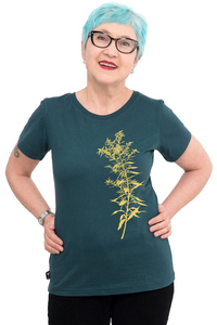"""Fair-Trade-Frauenshirt """"Goldraute"""" - Made in Kenia - dunkelgrün - Hirschkind"""