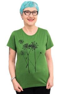 """Fair-Trade-Frauenshirt """"Schierling"""" - Made in Kenia - grasgrün - Hirschkind"""
