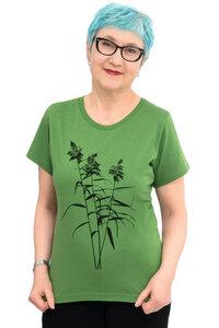 """Fair-Trade-Frauenshirt """"Schilf"""" - Made in Kenia - grasgrün - Hirschkind"""