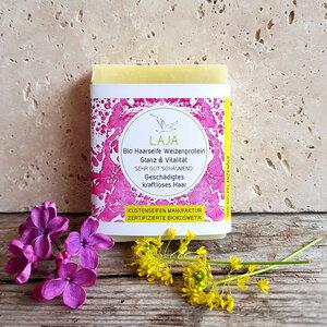 Haarseife Laya - Lavendel und Weizenprotein für strapaziertes / brüchiges Haar - Zertifizierte Biokosmetik - Küstenseifen Manufaktur