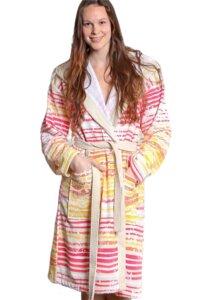 Bademantel Bio Baumwolle mit Kapuze gelb-orange-pink - The Spirit of OM