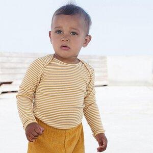 Gestreifter Baby Body - Senf - Serendipity