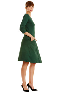 Ellen Stripe Dress - Dark Green - People Tree