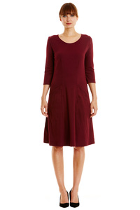 Ellen Stripe Dress - Burgundy - People Tree