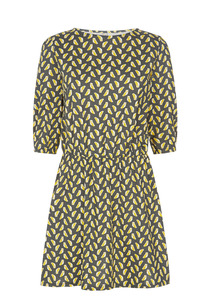 Claudia Owl Dress - Yellow - People Tree