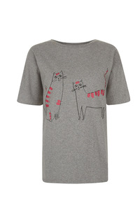 Happy Cats Long Line Tee - Grey Melange - People Tree