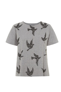 Dove Print Tee - Grey Melange - People Tree