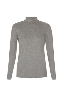 Organic basic roll neck top - Grey Melange - People Tree