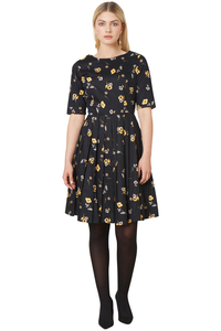 Ramona Flared Dress - Black - People Tree