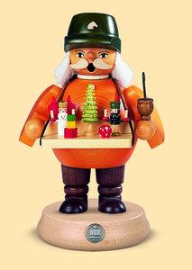 Räuchermann Spielwarenverkäufer 19 cm mittelgroß -aus nachhaltiger Waldwirtschaft - Müller Seiffen