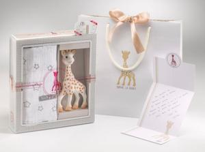 BIRTH SET MEDIUM NO. 2 - 100% NATURKAUTSCHUK Sophie la Giraffe + Soft-Mulltuch - Vulli