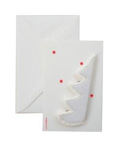 Weihnachtskarte mit Tannenbaum - weiß - ENGEL.