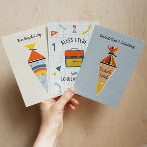 Postkarten 3er-Set Einschulung aus Recyclingpapier - TELL ME